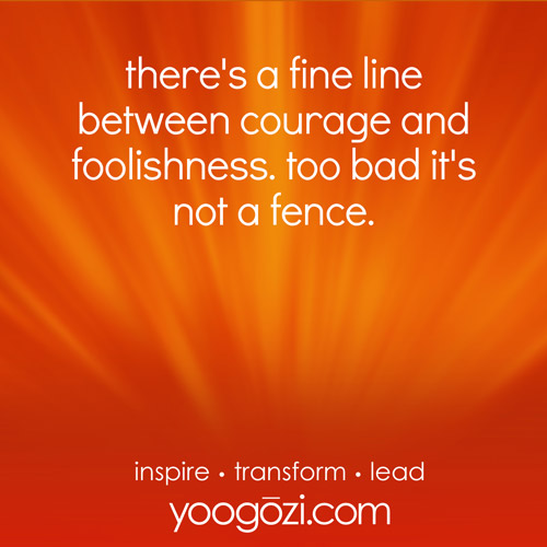 there's a fine line between courage and foolishness. too bad it's not a fence.