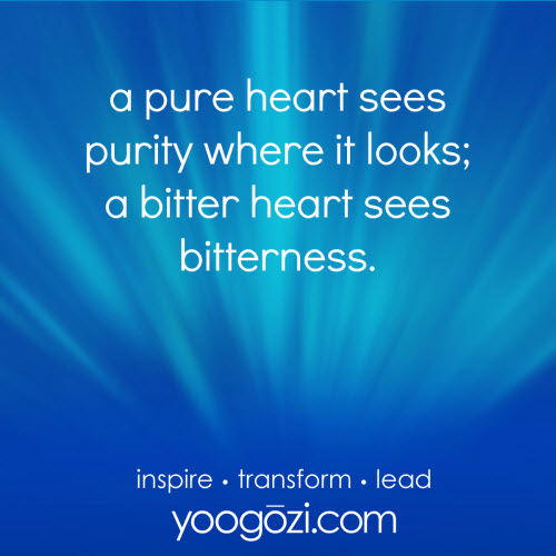 a pure heart sees purity where it looks; a bitter heart sees bitterness.