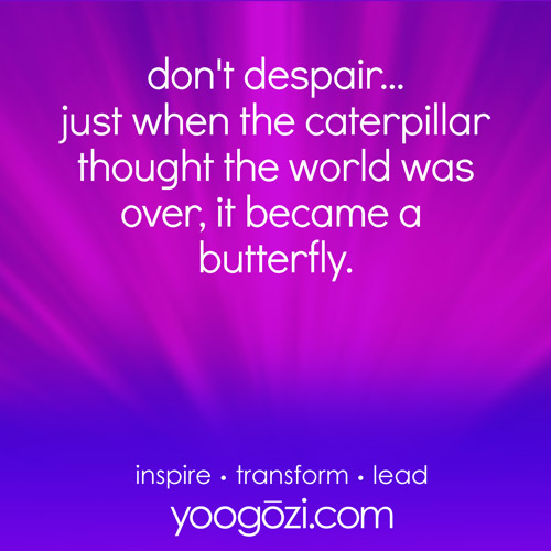 don't despair... just when the caterpillar thought the world was over, it became a butterfly.