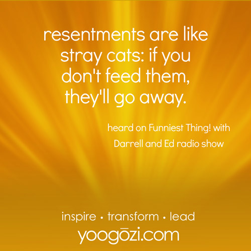 resentments are like stray cats: if you don't feed them, they'll go away. heard on Funniest Thing! with Darrell and Ed radio show