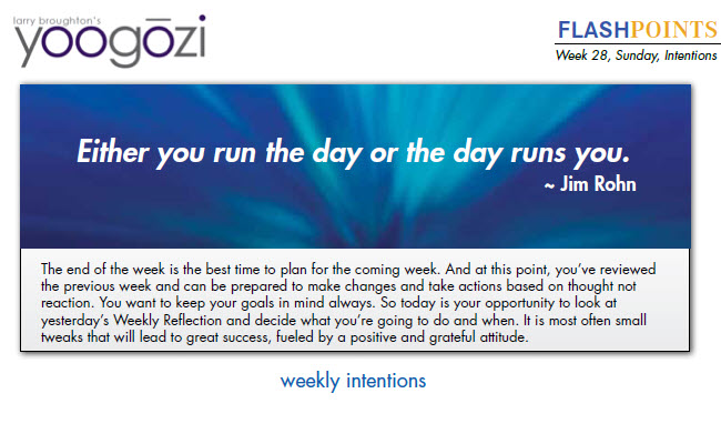 The end of the week is the best time to plan for the coming week. And at this point, you've reviewed the previous week and can be prepared to make changes and take actions based on thought not reaction. You want to keep your goals in mind always. So today is your opportunity to look at yesterday's Weekly Reflection and decide what you're going to do and when. It is most often small tweaks that will lead to great success, fueled by a positive and grateful attitude.