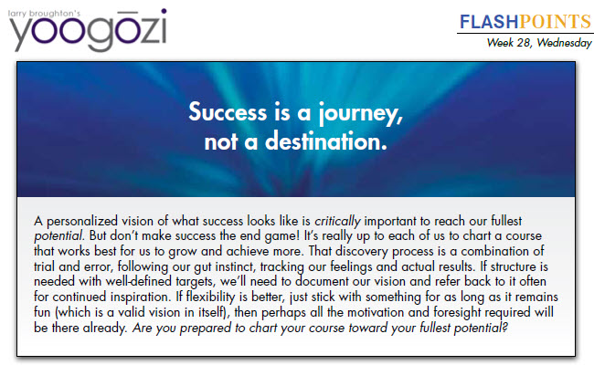 A personalized vision of what success looks like is critically important to reach our fullest potential. But don't make success the end game! It's really up to each of us to chart a course that works best for us to grow and achieve more. That discovery process is a combination of trial and error, following our gut instinct, tracking our feelings and actual results. If structure is needed with well-defined targets, we'll need to document our vision and refer back to it often for continued inspiration. If flexibility is better, just stick with something for as long as it remains fun (which is a valid vision in itself), then perhaps all the motivation and foresight required will be there already. Are you prepared to chart your course toward your fullest potential?