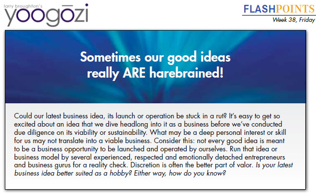 Could our latest business idea, its launch or operation be stuck in a rut? It's easy to get so excited about an idea that we dive headlong into it as a business before we've conducted due diligence on its viability or sustainability. What may be a deep personal interest or skill for us may not translate into a viable business. Consider this: not every good idea is meant to be a business opportunity to be launched and operated by ourselves. Run that idea or business model by several experienced, respected and emotionally detached entrepreneurs and business gurus for a reality check. Discretion is often the better part of valor. Is your latest business idea better suited as a hobby? Either way, how do you know?